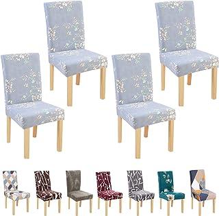 BED COTTON Fundas para Sillas Pack de 4, Fundas Decorativas para Sillas de Comedor, Elásticas Chair Covers Lavables Desmontables Cubiertas para Sillas Muy Fácil de Limpiar Duradera, Verde Claro