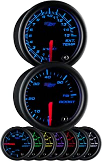 Glowshift Black 7 Color 52mm Universal Gauge Diesel Combo Kit 60 PSI Boost & Pyrometer EGT