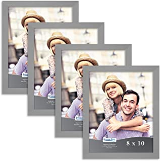 Icona Bay 8x10 Picture Frame Set (4 Pack, Gray) 8 x 10 Frame, Tabletop and Wall Hang Photo Frames, Impresia Collection