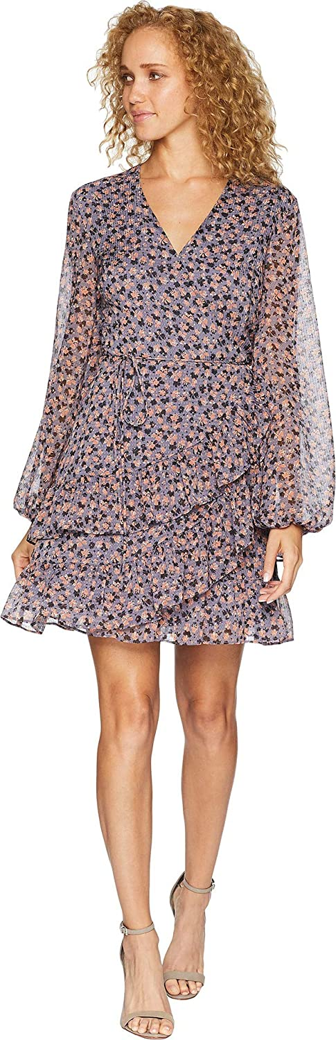 1.STATE Womens Long Sleeve Ditsy Drift Ruffled Wrap Front Dress