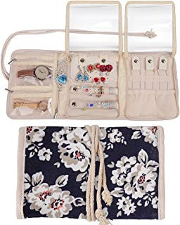 Travel Jewelry Roll,Jewelry Storage Bag Organizer for Earrings,Necklaces,Bracelets,Rings,Brooches and More,Compact and Foldable,Tied Up with Rope