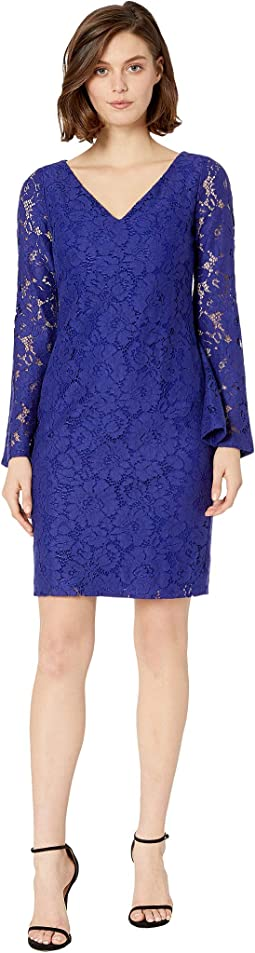 97G Garden Floral Lace Fresy Long Sleeve Day Dress