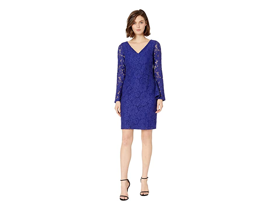 LAUREN Ralph Lauren 97G Garden Floral Lace Fresy Long Sleeve Day Dress (Cannes Blue) Women
