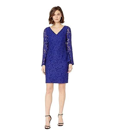 LAUREN Ralph Lauren 97G Garden Floral Lace Fresy Long Sleeve Day Dress (Cannes Blue) Women