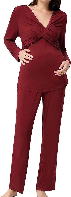 Women's Maternity Nursing Pajamas Sleepwear Set Soft Pregnancy Sleepwear