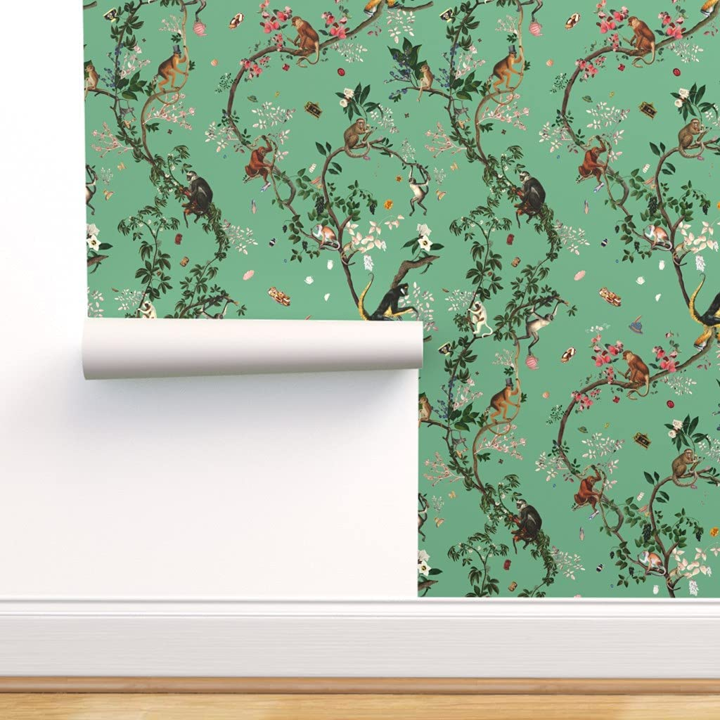 Removable Water-Activated Wallpaper - Jungle 2020A W新作送料無料 Monkey Chinoiserie 春の新作