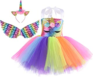 Unicorn Costume for Girls Rainbow Unicorn Dress for Girls Birthday Party with Headband and Wings 4T 6T 8T Outfit