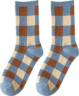 TJCJIEM, Calcetines Invierno Mujer - Retro Calcetines Térmicos de Rayas Chicas Calcetines Deportivos a Cuadros Socks Otoño Calentitos Caliente Suave Cómodo Casual Calcetines Mujer Largos Azul