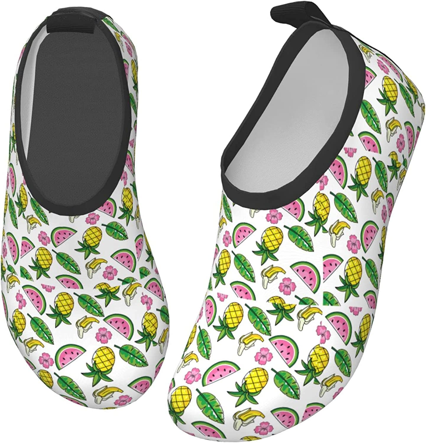 Jedenkuku Melon Watermelon Pink Fruit Tropical Children's Water Shoes Feel Barefoot for Swimming Beach Boating Surfing Yoga