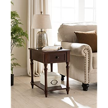 One Source Living Regency Side Table with Charging Station in Dark Cherry