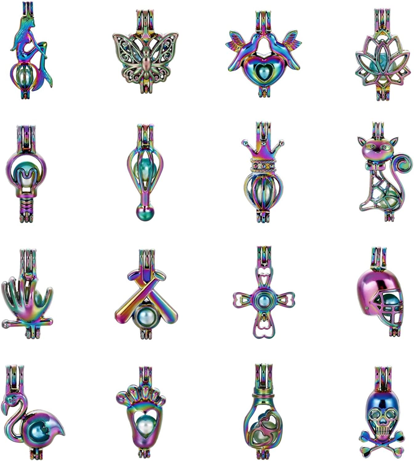 Mixed 16pcs Rainbow color Pearl Beads Cage Locket Pendants Jewelry Makingfor Oyster Pearls, Essential Oil Diffuser, Fun Gifts (Style 1)