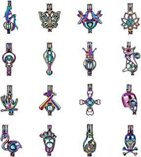 Mixed Rainbow Color Pearl Cage Beads Cage Locket Pendants DIY Jewelry Making Supplies-for Oyster Pearls, Essential Oil Diffuser, Fun Gifts (Mixed 16pcs-1)