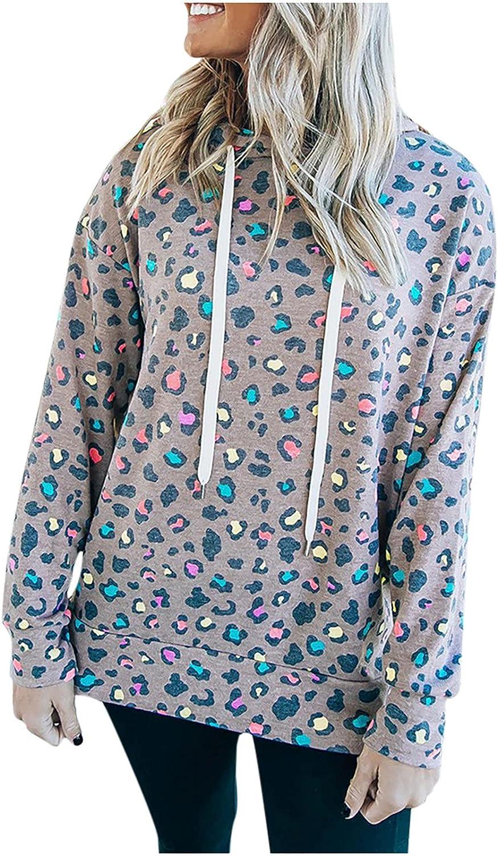 Womens Tops Women Casual Long New mail order Sleeve Hooded Printed Swea Leopard Popular overseas
