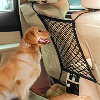 AUTOWN Car Dog Barrier, Auto Seat Net Organizer, Universal Stretchy Car Seat Storage Mesh & Mesh Cargo Net Hook Pouch Holder, Disturbing Stopper from Children and Pets as Car Backseat Barrier Net