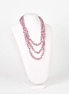 Lovely Crochet Rope Scarf Necklace- Metallic Thread Adds Subtle Sparkle- Pretty in Pink