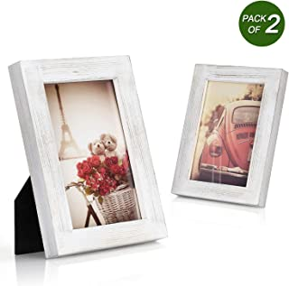 Emfogo 4x6 Picture Frames Photo Display for Tabletop or Wall Mount Solid Wood High Definition Glass Photo Frame Pack of 2 Vintage White