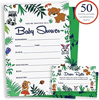50 Woodland Baby Shower Invitations - 60 Diaper Raffle Cards & Blank Envelopes