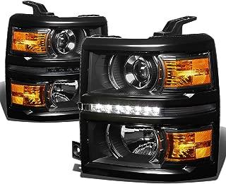 For 14-15 Chevy Silverado GMT K2XX Black Housing Amber Corner Projector LED DRL Headlight+Corner Light Kit