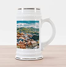 Lunarable European Beer Stein Mug, Pastoral View of Czech Republic Autumn Season European Gothic Building Culture, Traditional Style Decorative Printed Ceramic Large Beer Mug Stein, Multicolor