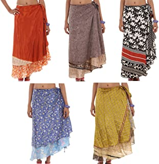 Mango Gifts Wrap Around Skirts Wholesale Lot 3 Pieces Printed Reversible Two Layer Assorted Colors