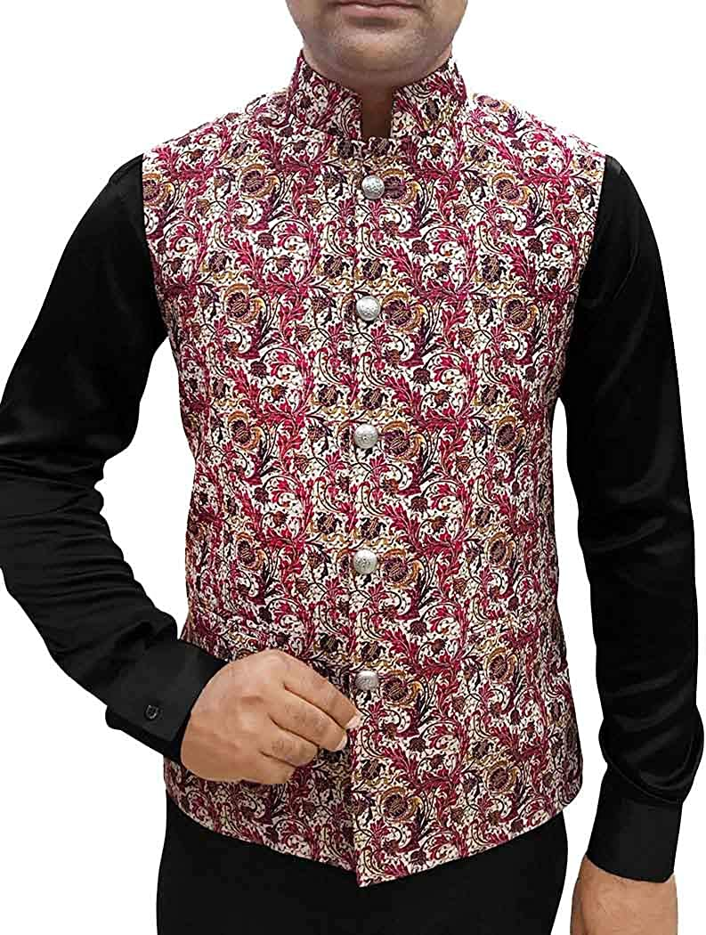 INMONARCH Mens Cream Nehru Vest Floral Pattern Indian Jacket NV84