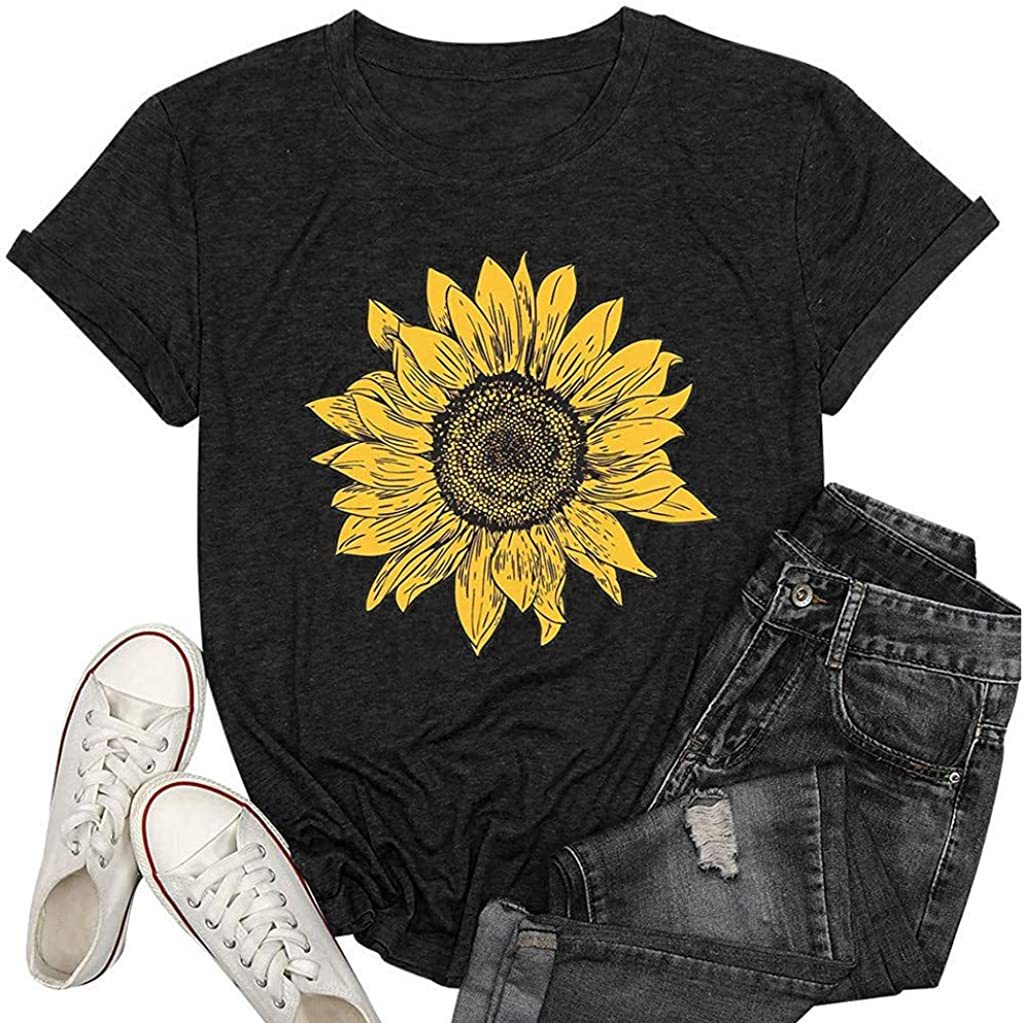 Womens Short Sleeve Tops, naioewe Shirts for Women Sunflower Print Summer Casual Short Sleeve T Shirt O-Neck Blouse Tops