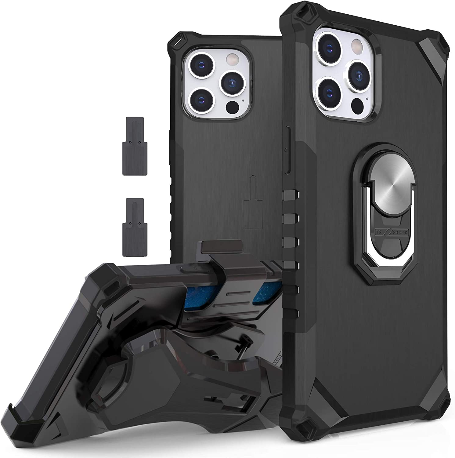 """BEYOND CELL Compatible with iPhone 12/iPhone 12 Pro (6.1"""") Case, Tri-Shield 2.0 Military Grade Magnetic Ring Kickstand with Multifunctional Belt Clip Holster for Car Mount & Bike Mount."""