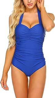 Womens One Piece Swimsuits Halter Swimwear Push up Monokinis Tummy Control Bathing Suits
