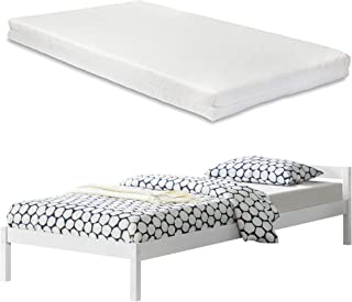 [en.casa] Lit en Pin avec Matelas en Mousse à Froid et Housse Polyester avec Sommier à Lattes 90 x 200 cm Blanc