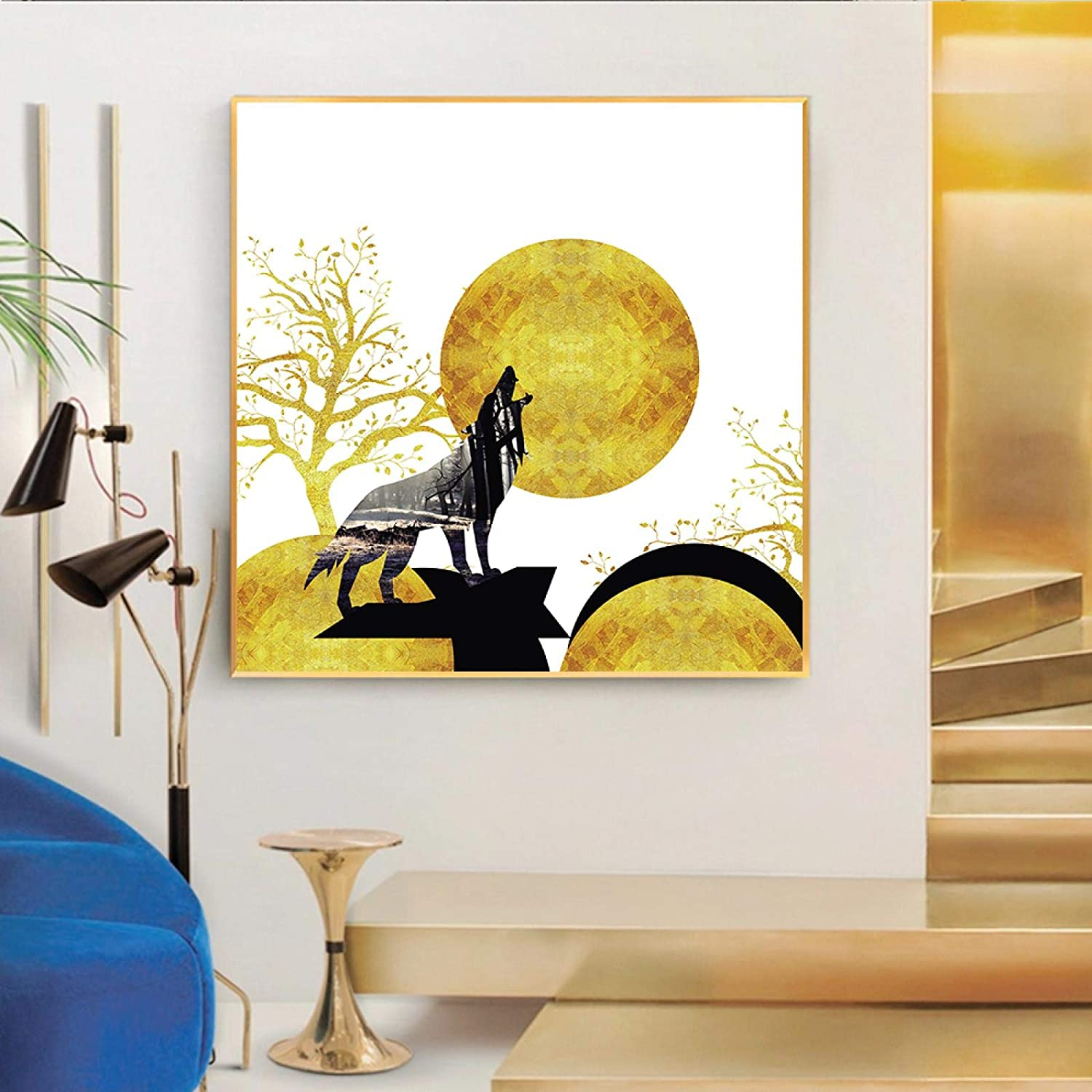 National products Abstract Painting Tree Wolf Poster Wall Large special price !! Livi Nordic for Pictures