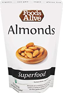 Foods Alive Almonds - Organic, Non-GMO, Raw, Vegan, Gluten-Free, Kosher - Natural Source of Protein, Fiber, and Fatty Acid...