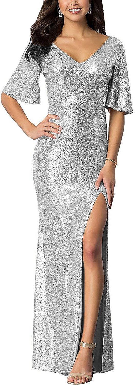 Meaningful Women's Sparkly Houston Mall Sequin Mermaid V Prom Slit Genuine Ne Dresses