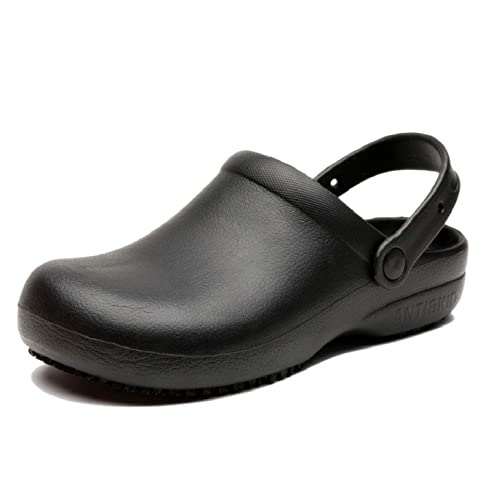 ebd0e5223570 INiceslipper Unisex Anti-Slip Chef Clog Oil Water Resistant Work Shoes  Flats Shoes Black