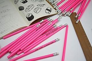 Matita con testo personalizzato, gruppo x50 matite, regalo di nozze per gli ospiti, colore rosa e gomma bianca