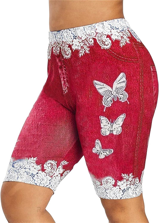 Women's High order Print Knee Length Short Pants Butterfl Waisted Rare High Jean