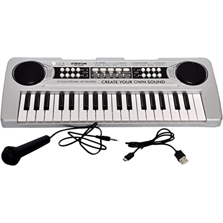 Toyshine 37 Keys Piano with DC Output, USB Charging (USB Included) and Microphone, Mix Color