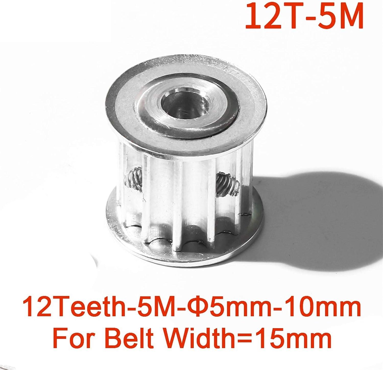 12T 12TETH HTD 5M Polea de Tiempo Aluminio Leluo Lruirui-Rueda s/íncrona 12 Dientes 5M Polea de Tiempo FIT W = 15mm HTD 5M Timping Cintur/ón Orificio 5//6 // 8 // 10mm