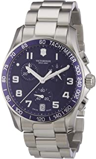 Victorinox Chrono Classic Blue Dial Stainless Steel Mens Watch 241497XG (Renewed)