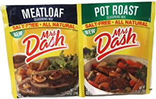 Mrs Dash Seasoning Mix Bundle - 2 Items: Salt Free Meatloaf and Pot Roast