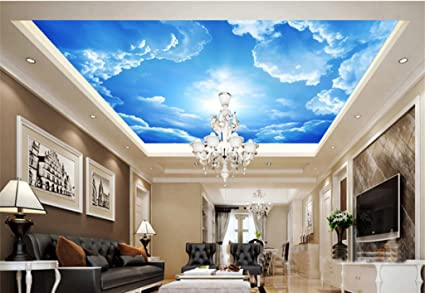 Wongxl Murales Carta Da Parati Solare Lantian Baiyun Soffitto Controsoffitto Top Tv Soggiorno Parete Camera Da Letto 3d Carta Da Parati Wallpaper Mural Murale 200cmx150cm Amazon It Fai Da Te