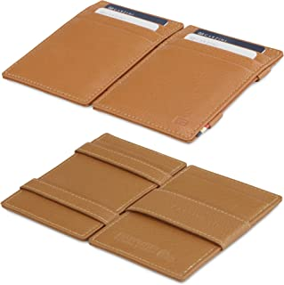 (Cognac Brown) - Garzini Magic Wallet RFID Leather Essenziale Nappa Edition (Cognac Brown)