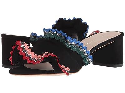 Loeffler Randall Vera Ruffle Sandal Mule (Black Suede/Multi) Women