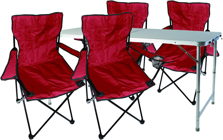 Mojawo  5tlg. Campingmbel Set Alu 120x60x58 70cm 1x XXL Campingtisch hhenverstellbar mit Tragegriff + 4 Anglerstühle, Faltstühle rot