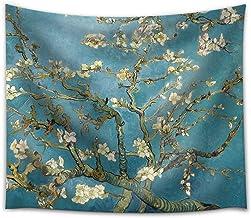 Pareo estampado con hojas tropicales en tejido ligero de poli�ster �til como tapiz decorativo, colcha, mantel o para ir a la playa (198 x 147 cm) (GT06), Plum Blossom, 78