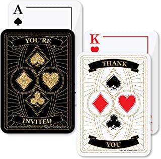 Las Vegas - 20 Shaped Fill-In Invitations and 20 Shaped Thank You Cards Kit - Casino Party Stationery Kit - 40 Pack