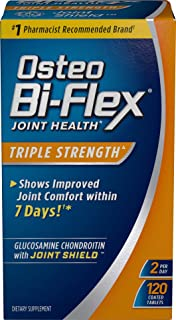 Osteo Bi-Flex Triple Strength Coated Tablets (Pack of 120), Joint Health* Supplements with Glucosamine & Vitamin C, Gluten Free ,Vibrant Polished Nickel - SUNDOWN639575