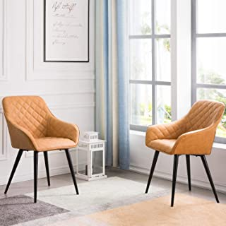 OVIOS Dining Chairs,Accent Chair Set of 2,Leather Kitchen Chairs with Sturdy Metal Legs and Arm. (Light Brown)