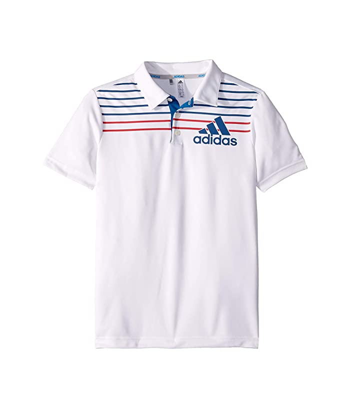 adidas Golf Kids  Badge of Sport Polo (Little Kids/Big Kids) (White/Dark Marine) Boys Short Sleeve Knit