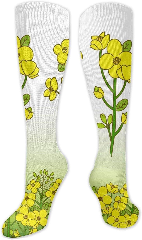 Yellow Canola Flower Knee High Socks Leg Warmer Dresses Long Boot Stockings For Womens Cosplay Daily Wear
