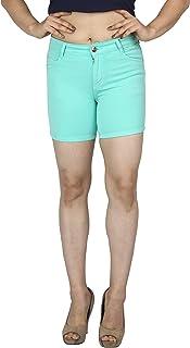 FCK-3 Women's Attarctive Colored Denim Capri-301-Lgreen